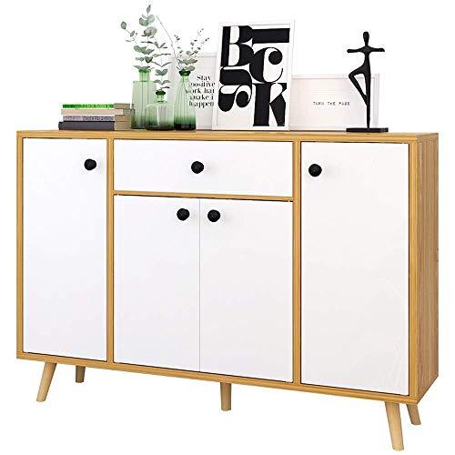 CENPEN Zapatero de almacenamiento en la entrada, porche, sala de estar, con 4 puertas, 1 cajón, fácil de montar (color: natural, tamaño: 120 x 30 x 82 cm)