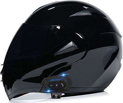 Feeyond Casco de moto Bluetooth, casco integral modular con doble visera parasol, casco certificado DOT, sistema de comunicación intercomunicador integrado MP3 FM Broadcast integrado, Z,M