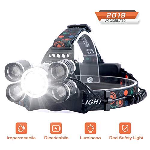 Linterna Frontal Recargable LED Alta Potencia 10000 Lúmenes, Luz de Cabeza Impermeable Super Brillante con 4 Modos para Casco, Pesca,Senderismo, Bicicleta, Camping y Caza