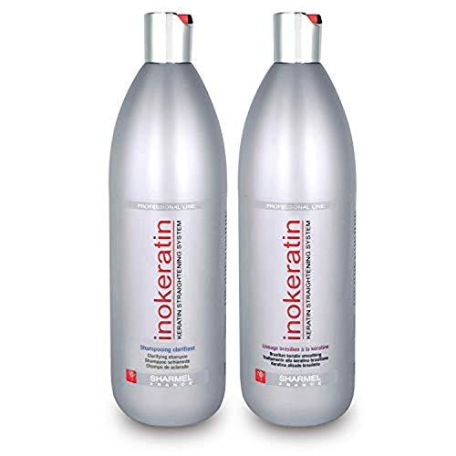 Kit Lissage Brésilien Inokeratin - 2 x 1000 ml - à la Kératine et à l'Huile d'Argan - sans formol