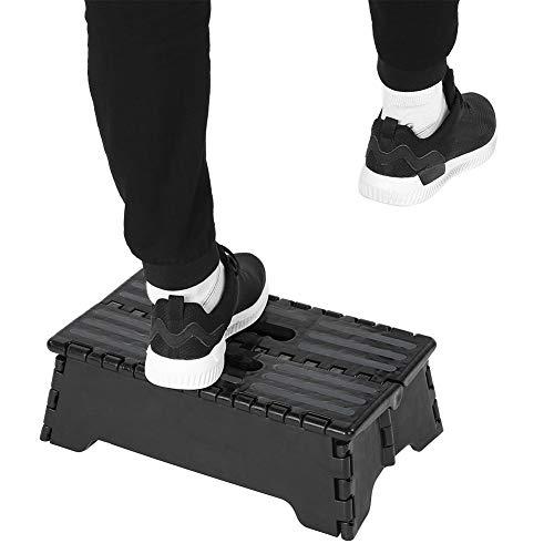 CUTULAMO Taburete Escalonado de plástico portátil Negro, Taburete Escalonado Diseño Plegable fácil Taburete Escalonado Plegable Antideslizante Taburete Escalonado para baño para automóvil/bañera /