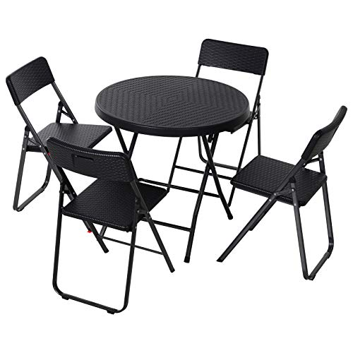 Outsunny 5 PCS Rattan Effect Folding Garden Patio Dining Set 4 Chairs & 1 Table Outdoor Furniture Set - Black