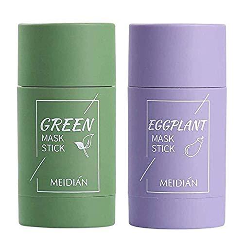 Maseczka z zielonej glinki do herbaty, kontrola oleju, bakłażanowa, nawilżająca i kontroluje olej, oczyszczanie trądziku, usuwanie wągrów (zielona herbata i bakłażan)