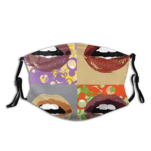 KIMDFACE Gesichtsbedeckung,Dunkler Farbiger Lippenstift auf verschiedenen und abstrakten Rahmen Pop Art inspirierte Girlie Design,Wiederverwendbar Winddicht Staubschutz Mund Bandanas Mit 2 Filtern