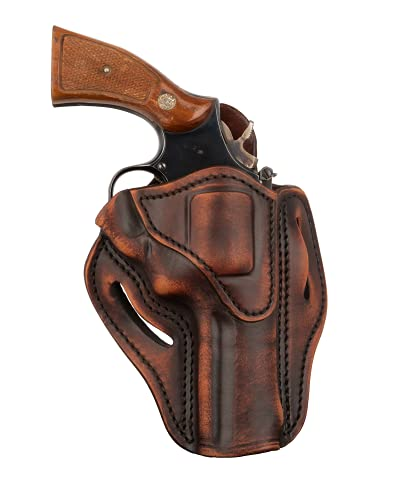 1791 GUNLEATHER K-Frame Revolver Holster - OWB Leather Revolver Holster - Right Handed Leather Gun Holster for Belts - Compatible with Ruger GP100, Smith & Wesson K Frame and 686 (Vintage Brown)