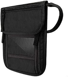 Black Passport Holder Neck Stash Travel Wallet Pouch