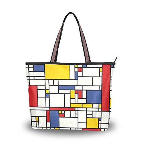 ALAZA Tote Abstract Mosaic Pattern Piet Mondrian Top Handle Shoulder Bags Women Handbag