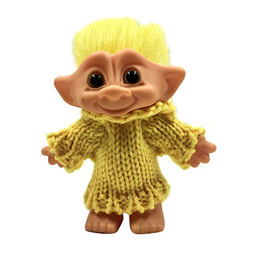 T TOOYFUL Cute Good Luck PVC Troll Dolls , Mini Action Figures Toys, Dollhouse Doll Kids Adult Collectible Action Figures - Yellow Hair