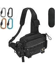 Drado 釣りバッグ フィッシングバッグ タックルバッグ ワンショルダーバッグ 大容量 多機能 防水 アウトドアバッグ カラビナ4個 肩パッド付き