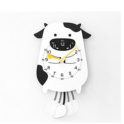 ZhoBinH- Mignon Cartoon Swing Horloge Murale Moderne Pendule Décorative Horloge Créative Animal Horloge Pendule Horloge (taille : Cow)
