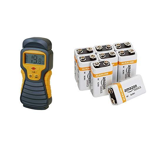 Brennenstuhl Feuchtigkeits-Detector MD (Feuchtigkeitsmessgerät/Feuchtigkeitsmesser für Holz oder Baustoffen,mit LCD-Display)anthrazit/gelb & Amazon Basics Everyday Alkalibatterien 600 mAh, 9V,8 Stück