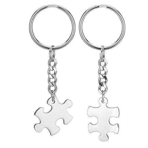 Jovivi Edelstahl Puzzle Schlüsselanhänger Paar Partner Schlüsselring Keychain Silber Freundschafts Pärchen Geschenke