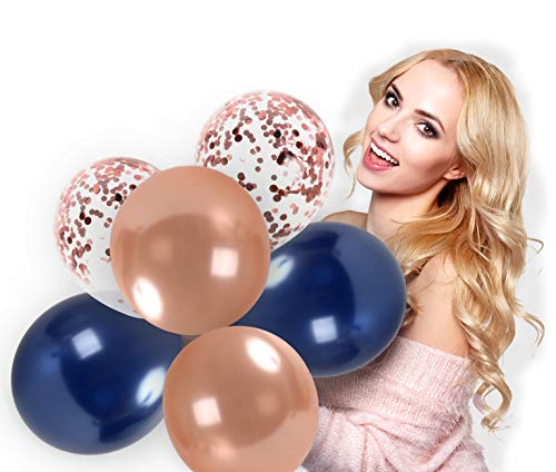 Rose Gold Balloons Navy Blue Metallic Balloons and Clear Latex Pre-Filled with Rose Gold Confetti 44 Pack 12 Inch for Wedding Anniversary Bachelorette Bridal Shower Engagement Birthday and Graduation