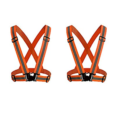 HYCOPROT 2 Pack Safety Vest Reflective Gear with High Visibility Adjustable Straps for Running, Jogging, Cycling, Hiking, Walking, Multicolor Optional (Orange)