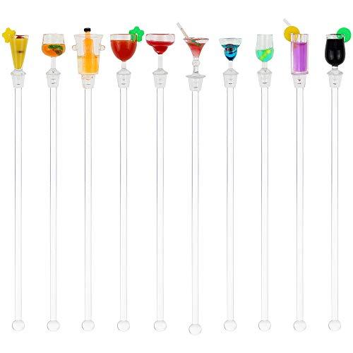 KingYH 10 Pezzi Bastoncini per Cocktail in Acrilico Colorful Swizzle Mixing Sticks per Bar Partito Cafe Cocktail Frutta Succo Bevande Miscelatore