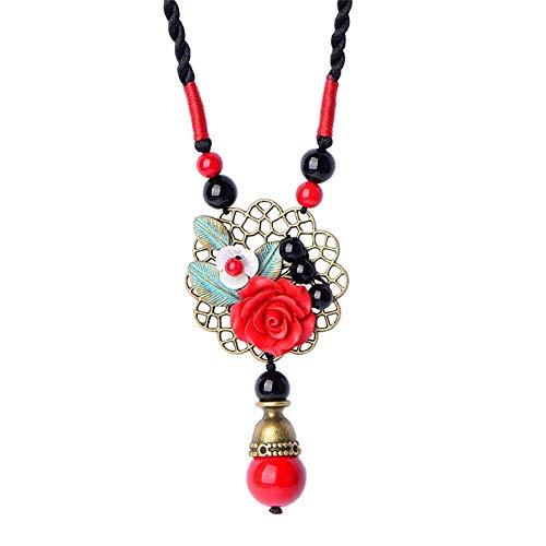 FKJSP Shell Collar de la declaración del ahogador del Collar de la Mujer Linda étnico Cadena Rose roja Pedantes Collares Joyas de Moda Mujer (Color : 45cm, Size : Brass Plated)