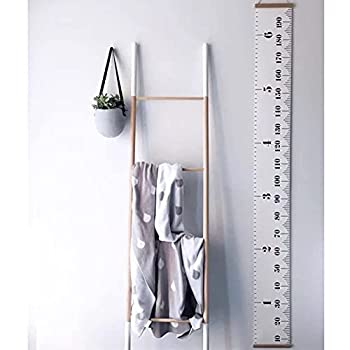 Miaro Kids Growth Chart Wood Frame Fabric Canvas Height Measurement Ruler from Baby to Adult for Child s Room Decoration 7.9 x 79in