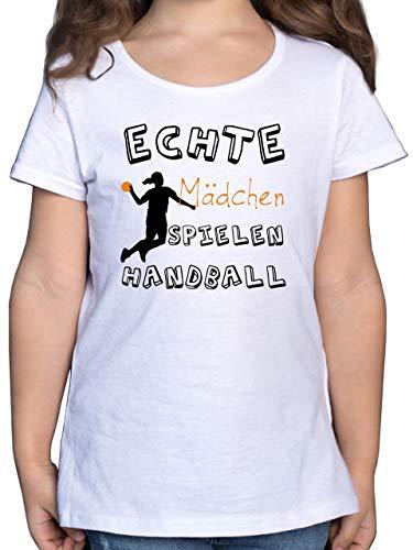 Sport Kind - Echte Mädchen Spielen Handball schwarz - 164 (14/15 Jahre) - Weiß - Handball t-Shirt mädchen - F131K - Mädchen Kinder T-Shirt