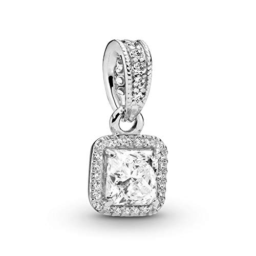 Pandora Jewelry Square Sparkle Halo Cubic Zirconia Necklace in Sterling Silver