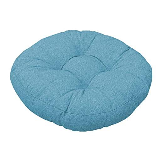 jHuanic Coussin de chaise rond doux, lavable pour intérieur ou extérieur, salle à manger, jardin, cuisine, bureau, patio (40 x 40 cm, bleu)