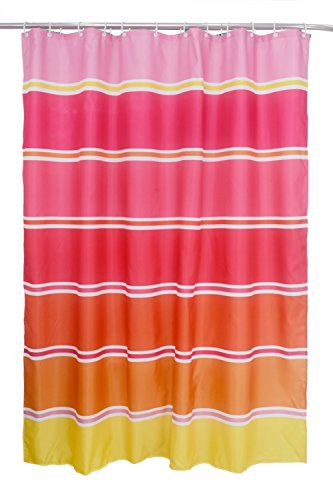 Textil Duschvorhang (PE-Lining) ca. 180x200 cm Ösen Vorhang wasserfest inkl. 12 Ringe Latex Beschwerungsband - Design Regenbogen