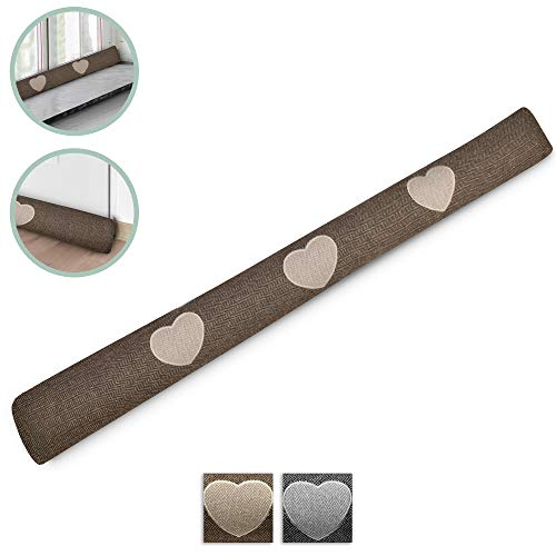 Beautissu Draught Excluder Tuuli HR 90 x 8 cm Draft Stopper Cushion for Doors/Windows Draft Guard Insulator Brown
