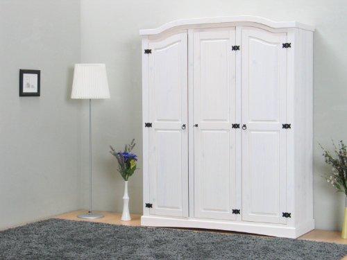 dynamic24 3trg massiv Kiefer Mexico Kleiderschrank New Mexiko Schlafzimmer-Schrank weiß