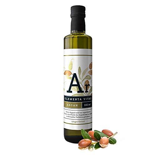 ELEMENTA VITAE natives Bio-Arganöl ungeröstet 250ml - Kaltgepresst und unbehandelt aus Marokko - 100% rein | Gourmet-Speiseöl | Hautpflegeöl | Haaröl | Kosmetik & Küche | OMEGA-6 Fettsäuren |