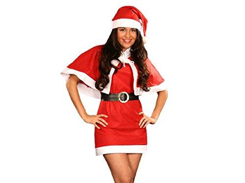 PROMOTION: Costume mère noël déguisement complet pas cher (wk-75), ensemble de 4 pièces: robe, ceinture, cap et bonnet. en feutrine très douce taille unique S/M (34/40) adulte ados cadeau sympa tenue habit femme fille original joyeux miss Santa girl Christmas joyeuse fête de fin d'année L'ensemble est confortable et facile à enfiler vêtement accessoire idéal pour se déguiser et faire la surprise pour les petits enfants, Haute de Gamme ALSINO