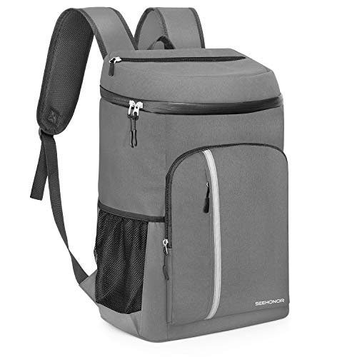 SEEHONOR Insulated Cooler Backpack Leakproof Soft Cooler Bag Lightweight Backpack with Cooler for Lunch Picnic Hiking Camping Beach Park Day Trips, 45 Cans (Dark Grey)