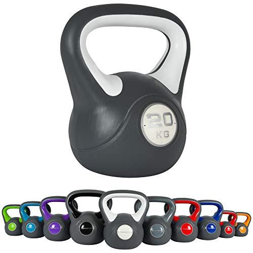 MSPORTS - Kettlebell da 2 – 20 kg, con poster degli esercizi da eseguire, 20 kg – bianco.
