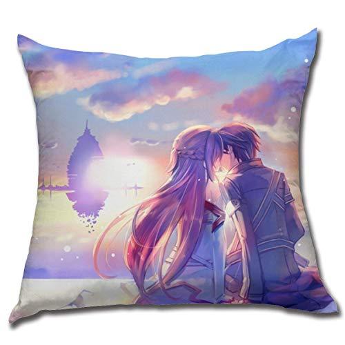 NOON Sword Art Online-Kirito & Asuna Cotton Fleece Soft Anime Hug Pillowcase Anime Style Pillowcase Fundas para Almohada 16x16Inch(40cmx40cm)