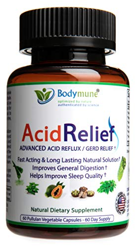 Natural Acid Relief | Antacids | Acid Reflux Relief | Heartburn | Acid Indigestion | GERD Relief by Bodymune | Upset Stomach Relief | Vegan Non GMO Gluten Free Synergistic Blend | 60 Capsules
