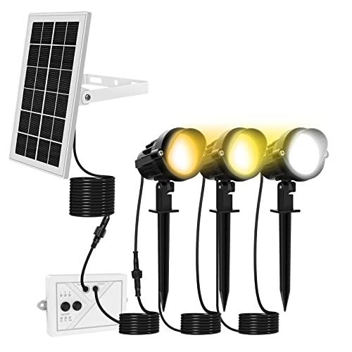 MEIKEE Solar Spotlights, 3 in 1 Landscape Lighting, IP66 Waterproof LED Lawn Lights, Adjustable Solar Spot Lights, Decorative Garden Spike Light for Patio Yard Pathway, Warm White