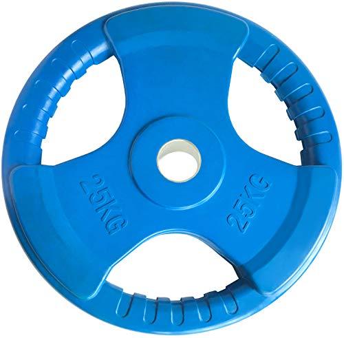 Body Revolution Olympia Color Hantelscheiben Gummiert - Gewichtsscheiben Guss Hantelgewichte Set   3-Loch-Handgriff   Auswahl an Gewichten & Größen separat erhältlich (20 kg x 2)