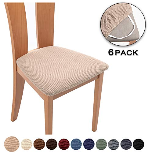 TIANSHU Spandex Jacquard Dining Room Chair Seat Covers,Removable Washable Elastic Cushion Covers for Upholstered Dining Chair (6 Pack, Sand)