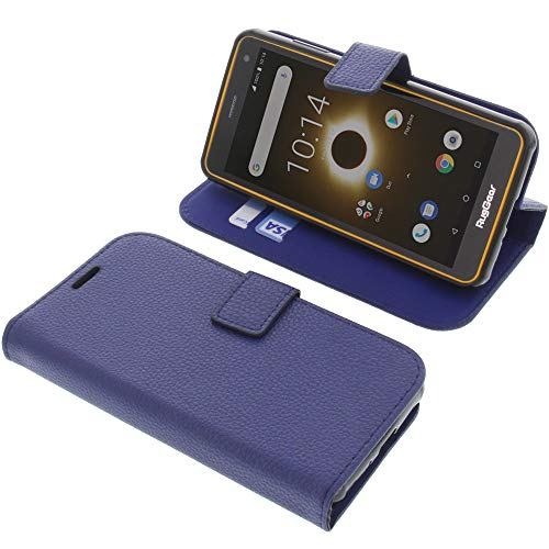 foto-kontor Tasche für Ruggear RG650 Book Style blau Schutz Hülle Buch