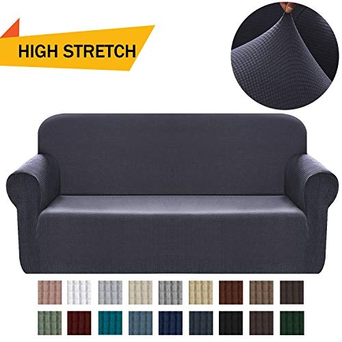Chelzen Stretch Sofa Covers 1-Piece Polyester Spandex Fabric Living Room Couch Slipcovers (Large, Dark Gray)