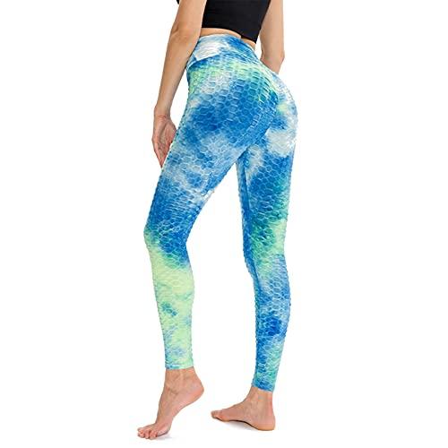 YCDZSW Leggings Mujer Push Up Mallas Pantalones Deportivos Anticeluliticos Suave Elásticos Alta Cintura Elásticos Yoga Fitness De Control La Barriga Elásticos Y Transpirables (Azul,M)