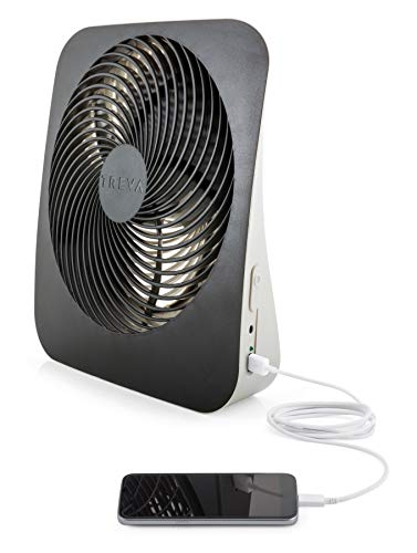 O2COOL Treva 10-Inch Portable Desktop Air Circulation Battery Powered Fan - 2 Cooling Speeds - with AC Adapter and USB Charging Port