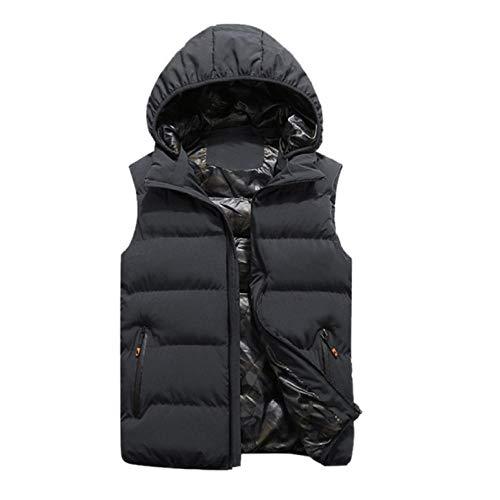 Vestes d'hiver Hommes Gilets À Capuche sans Manches Chaud en Coton Manteau Coupe-Vent Zipper Vest Poches Tops Plus La Taille L-5XL -Gray_L