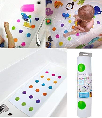 Gorbanshop Munchkin Tapis de bain antidérapant pour la sécurité de votre bébé ou de votre jeune enfant Motif à pois colorés