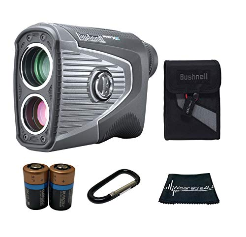Bushnell PRO XE Advanced Laser Golf Rangefinder with Included Carrying Case, Carabiner, Lens Cloth, and Two (2) CR2 Batteries Bundle