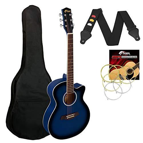 Tiger ACG1-BL Guitarra acústica de cuerpo pequeño con cuerdas de acero para principiantes - Azul