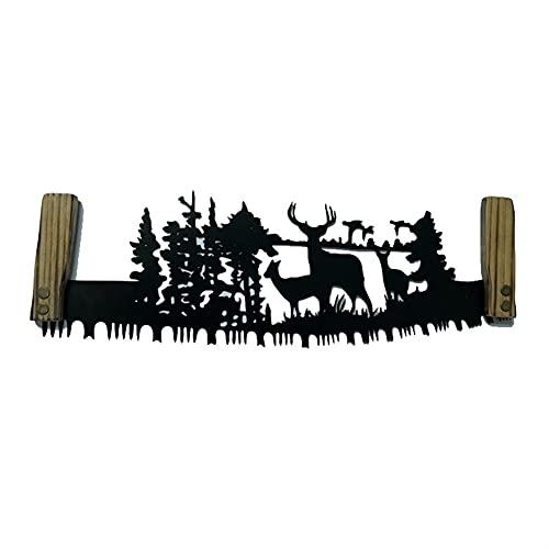 SVNA 2 Piezas Escultura de Pared de Metal de Corte de Plasma Retro Sierra de Mano Adornos artísticos de Hierro Forjado Día del Padre (Color : A)