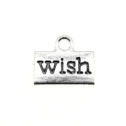 WANM Wish Charms Pendant Diy Jewelry Findings Antique Silver Color Tone 0.5X0.4 Inch (13X11Mm) 30Pcs/Lot