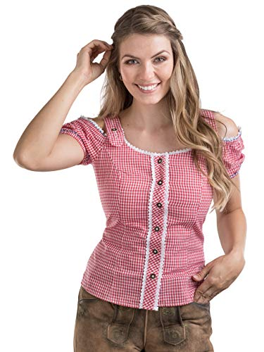 Schöneberger Trachten Couture Trachtenbluse Alpenklee - Elegante, Karierte Bluse im Carmenstil mit Stickereien - tailliert & verstellbar (46, Rot/Weiss)