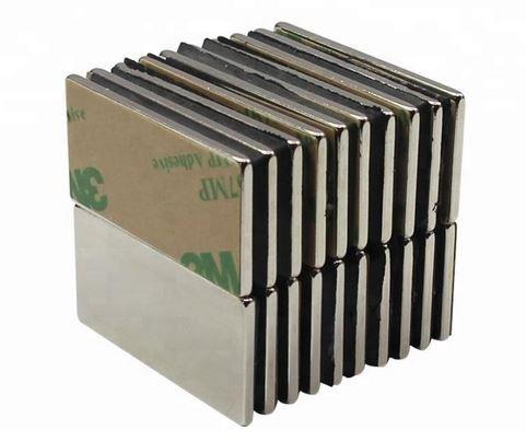 10 Stück selbstklebende Neodym Magnete N45 Rechteck 40x12x1 mm (5 Paare)