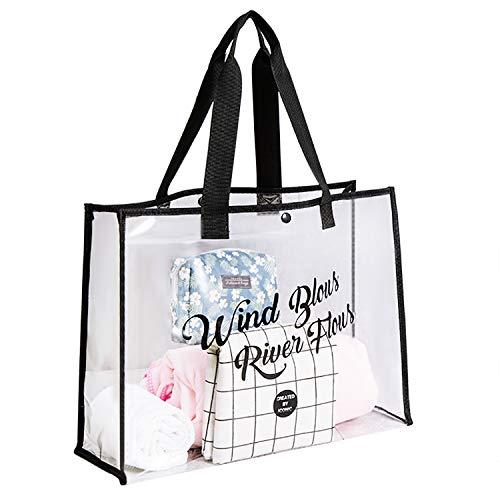Bolsa de transporte transparente para damas, bolsa de viaje de PVC, bolsa de viaje, bolsa de viaje, bolsa de playa, natación, viaje, Shopping, 47,5 x 35 x 15 cm, Negro (Negro) - FEM-BAG-000128-OFR