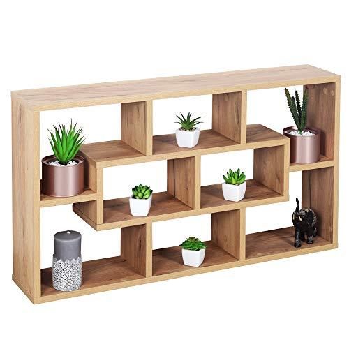 RICOO WM050-EG Wandregal 85x48x16 cm Holz Eiche Braun Schmal Mini Hänge-Regal Bücher-Regal für die Wand Schwebe-Regal Stand-Regal Eck-Regal